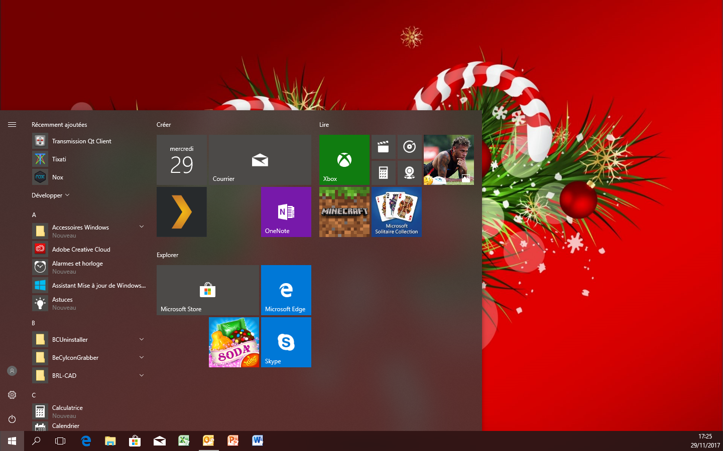 Capture d'écran Thème Windows 10 Sapins de Noël