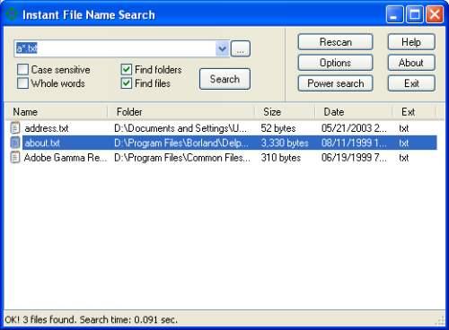 Capture d'écran Instant File Name Search