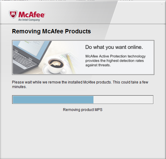 Capture d'écran MCPR – McAfee Consumer Product Removal