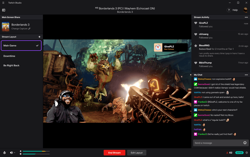 Capture d'écran Twitch Studio Mac