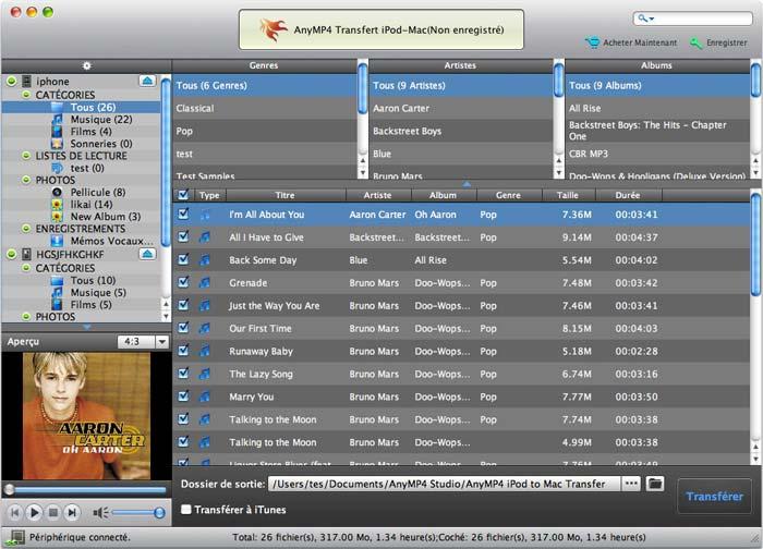 Capture d'écran AnyMP4 Transfert iPod-Mac Ultime