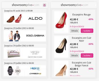 Capture d'écran Showroomprive.com iOS