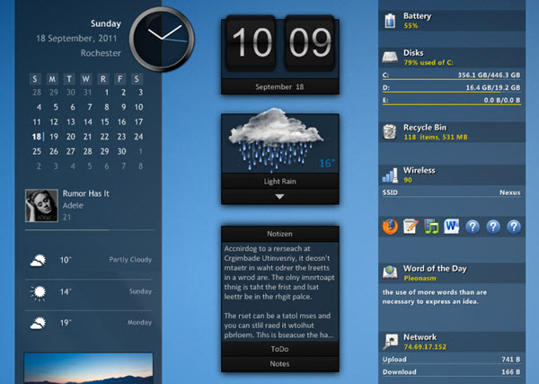 Capture d'écran Rainmeter