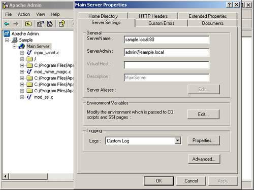 Capture d'écran Apache Admin