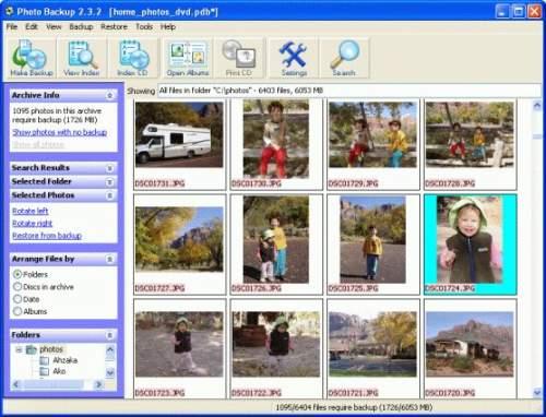 Capture d'écran PHOTOBACKUP