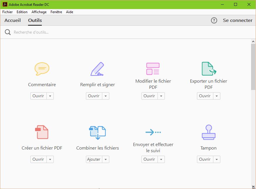 Capture d'écran Adobe Acrobat Reader DC