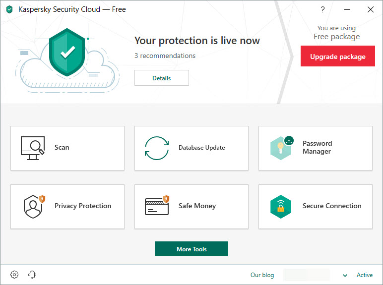 Capture d'écran Kaspersky Security Cloud Free