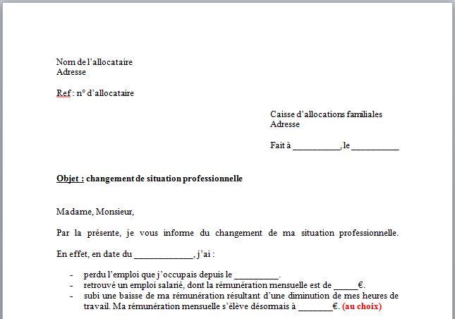 Capture d'écran Modèle de Lettre changement de situation CAF