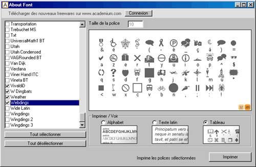 Capture d'écran About Font