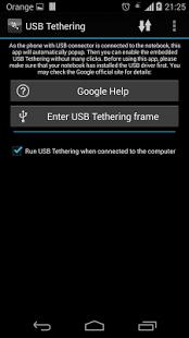 Capture d'écran USB Tethering