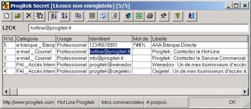 Capture d'écran Progitek Secret
