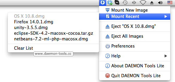 Capture d'écran Daemon Tools For Mac