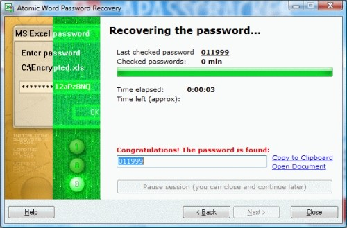 Capture d'écran Atomic Excel Password Recovery