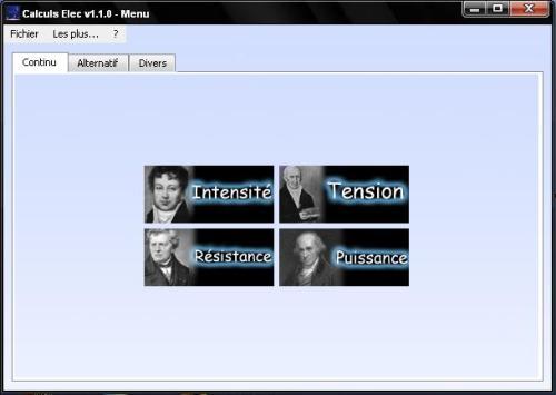 Capture d'écran Calculs Elec