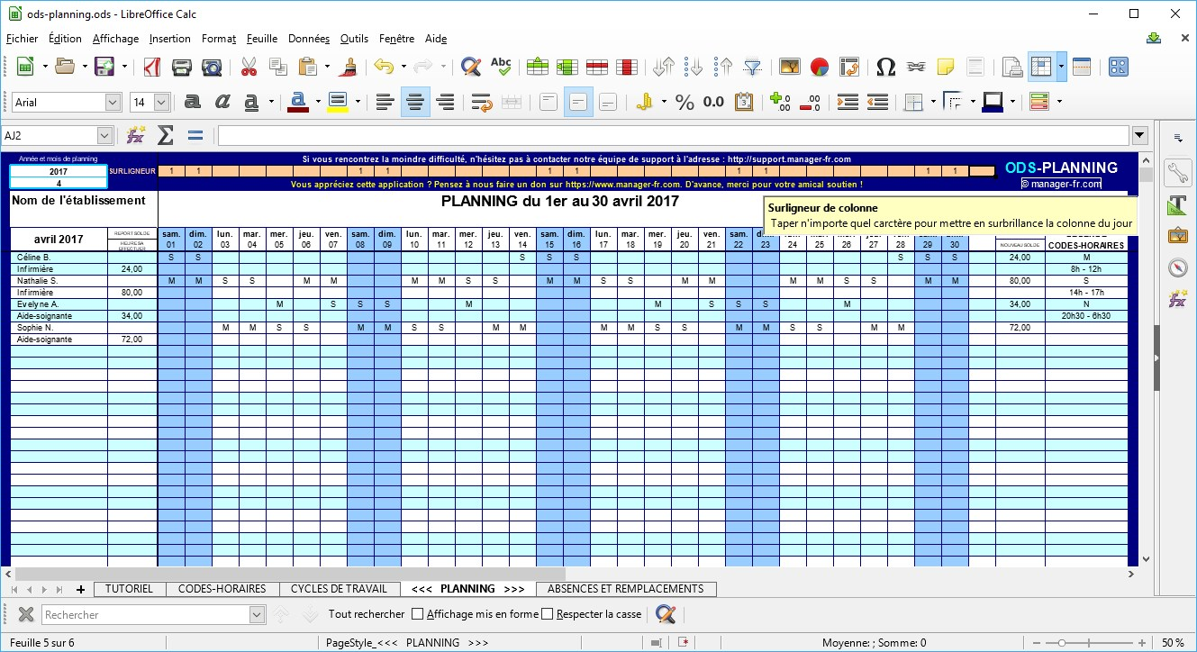 Capture d'écran ODS-PLANNING