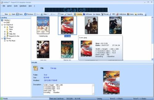 Capture d'écran ReportCD Collection Manager