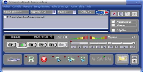 Capture d'écran Transcripteur