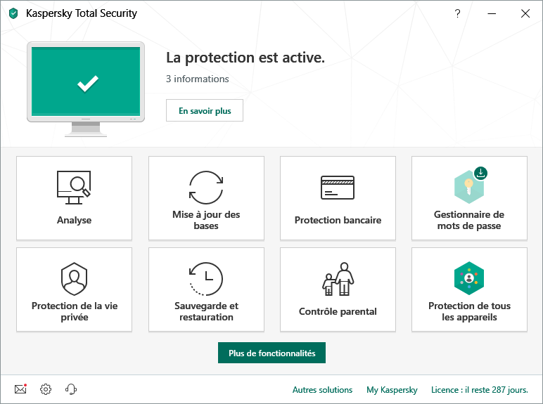Capture d'écran Kaspersky Total Security 2020 Technical Preview