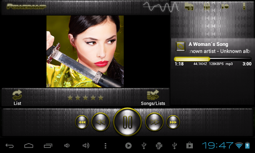 Capture d'écran Poweramp skin I. acier jaune