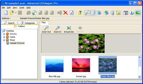 Capture d'écran Advanced CATaloguer Pro
