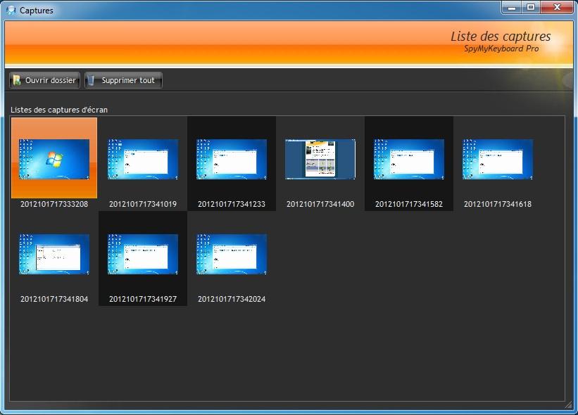 Capture d'écran SpyMyKeyboard Keylogger