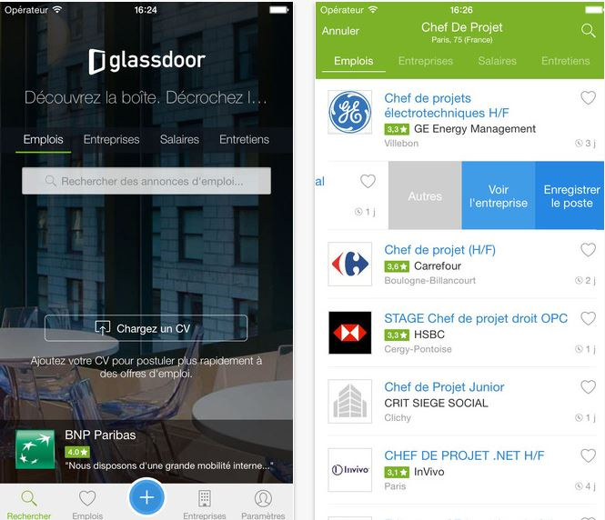Capture d'écran Recherche d'emploi iOS