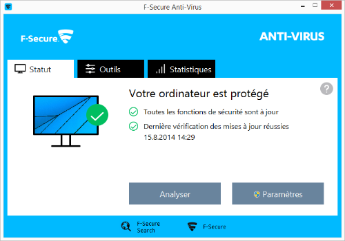 Capture d'écran F-Secure Anti-Virus