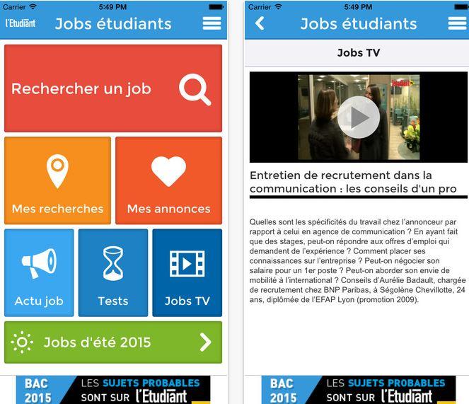 Capture d'écran Jobs pour étudiants iOS