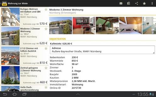 Capture d'écran Immobilien, Wohnungen