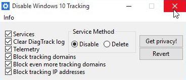 Capture d'écran Disable Windows 10 Tracking