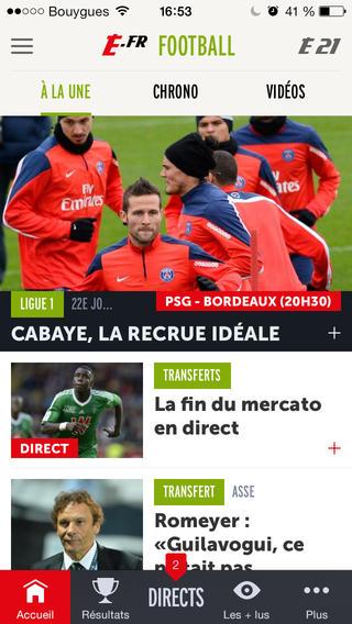 Capture d'écran L'Equipe.fr Android