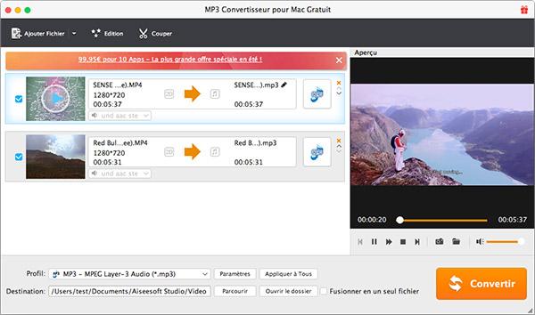 Capture d'écran Aiseesoft MP3 Convertisseur pour Mac Gratuit