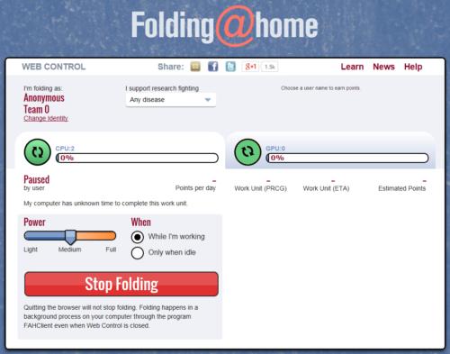Capture d'écran Folding@Home Windows