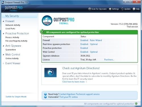 Capture d'écran Agnitum Outpost Firewall Pro (64-bit)