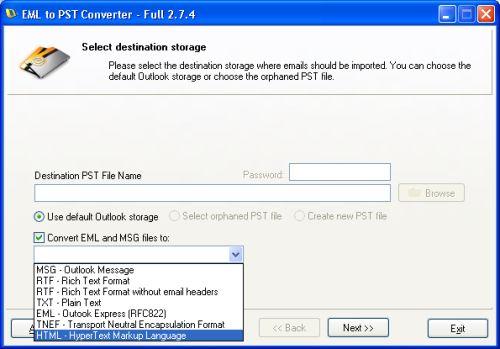 Capture d'écran EML to PST Converter
