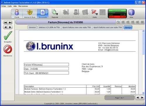 Capture d'écran BeDesk Express Facturation 5