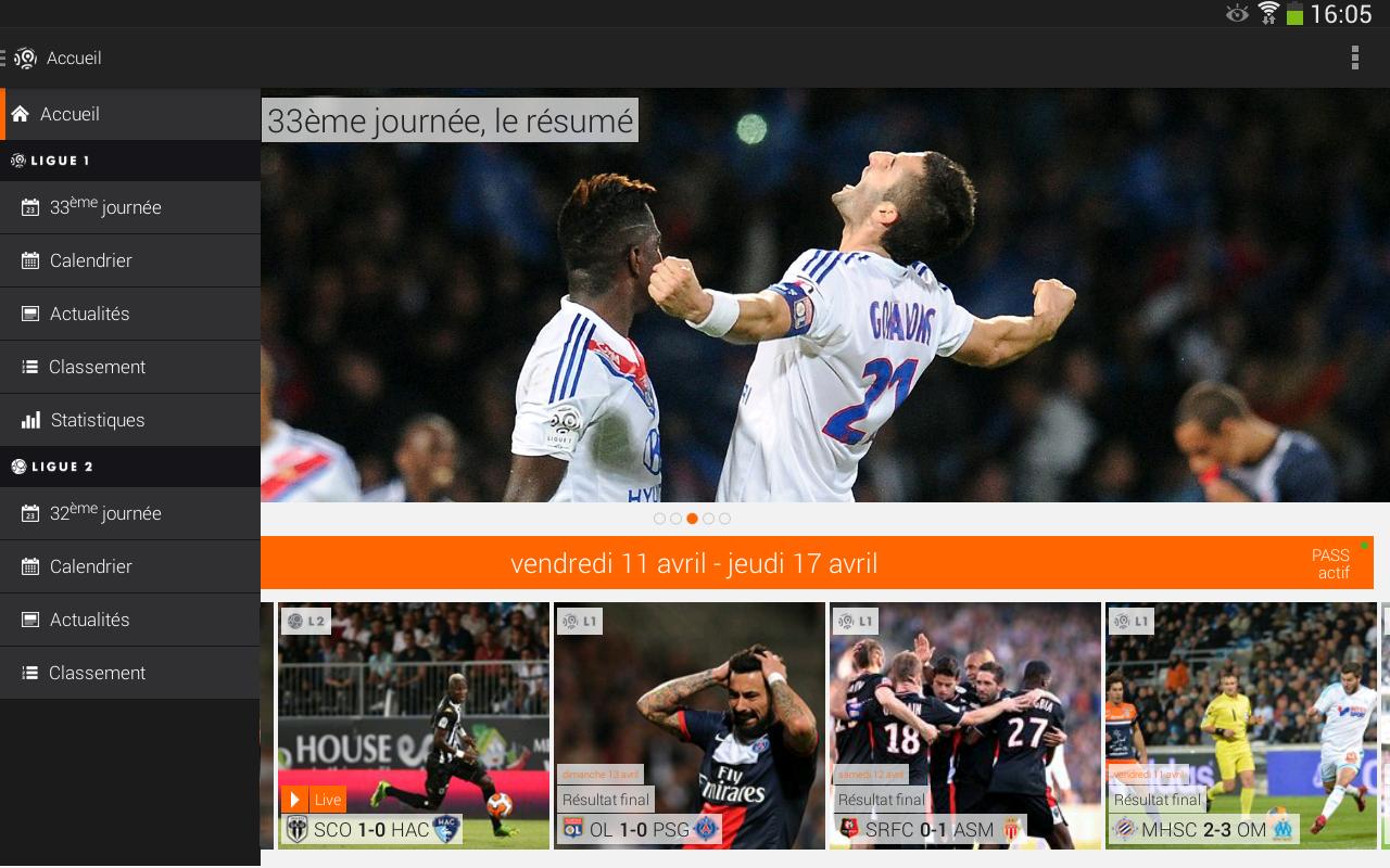 Capture d'écran Ligue 1 Android