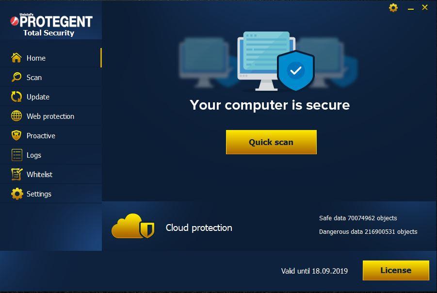 Capture d'écran Protegent Total Security