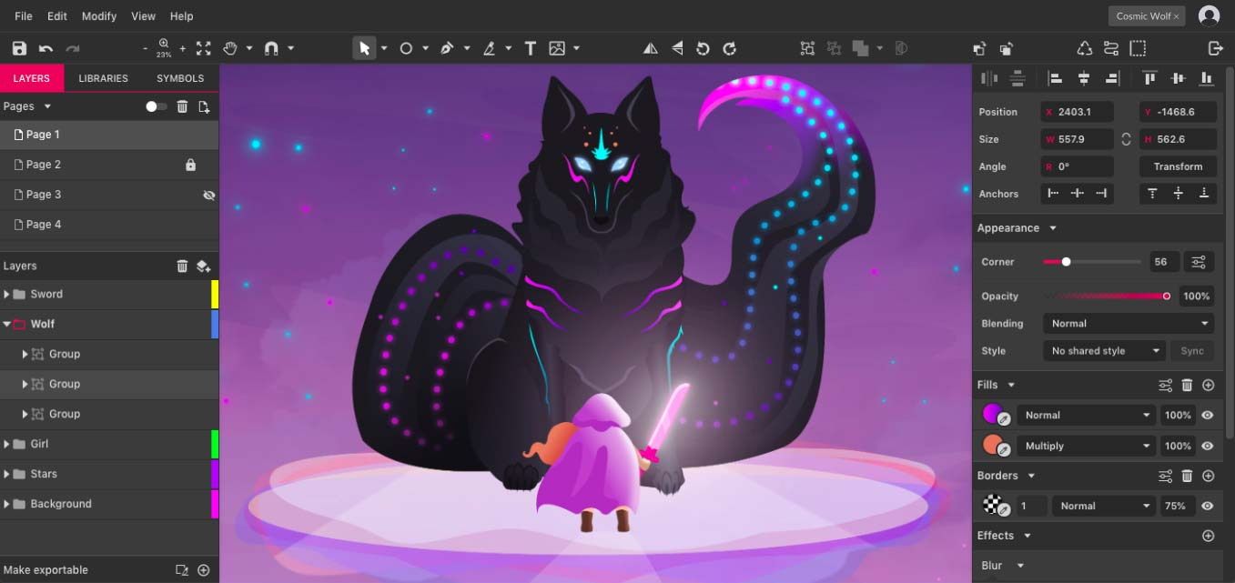 Capture d'écran Gravit Designer Linux