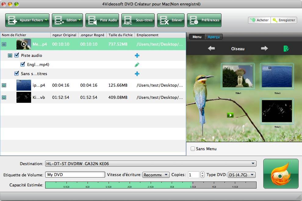 Capture d'écran 4Videosoft DVD Créateur pour Mac