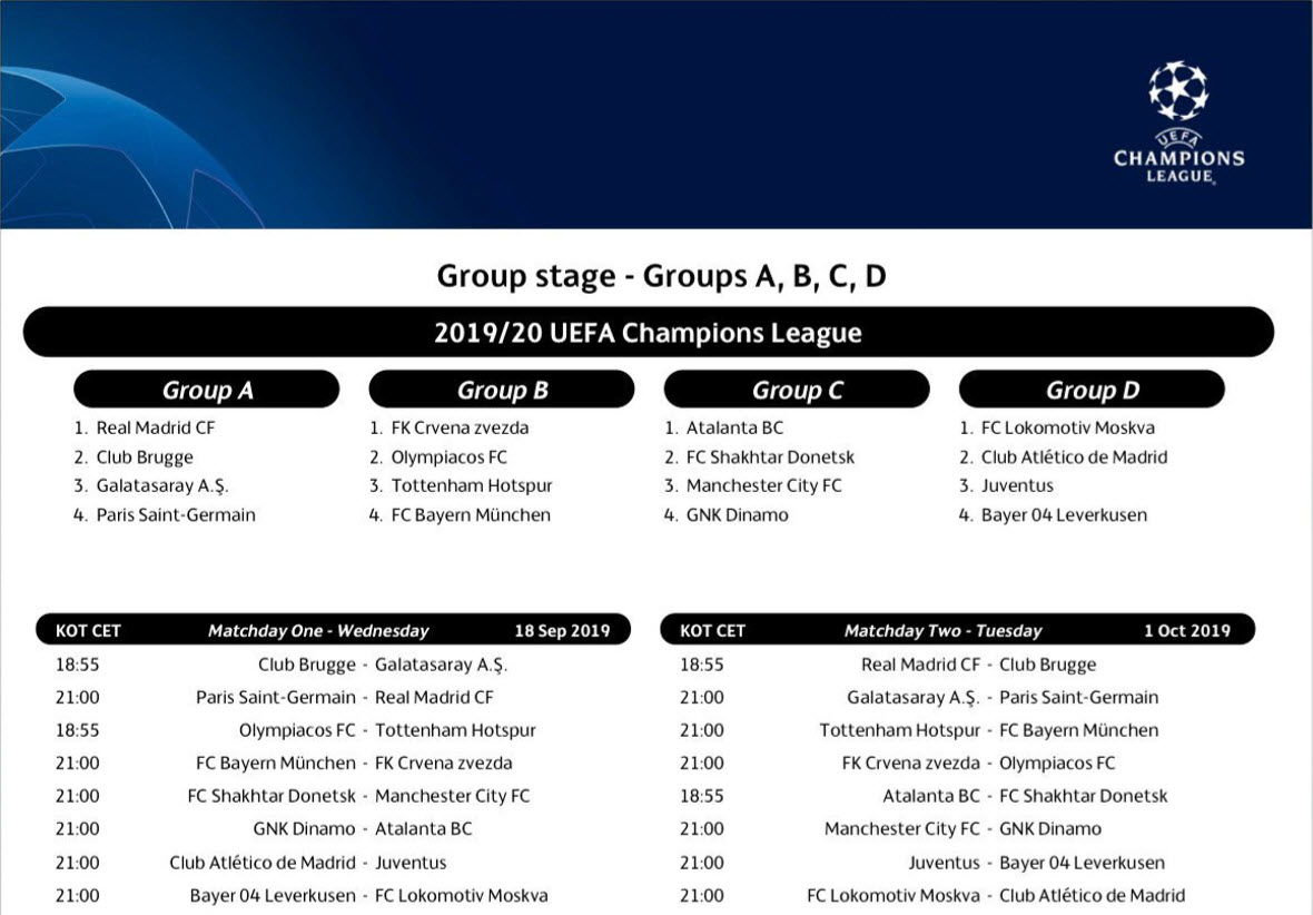 Capture d'écran Ligue des Champions Calendrier 2019 (Phase de groupes)