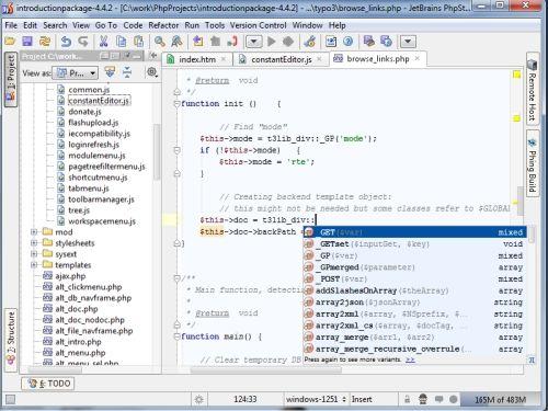 Capture d'écran PHP IDE PhpStorm
