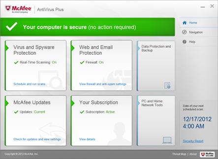 Capture d'écran McAfee Antivirus Plus