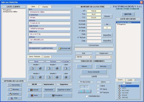 Capture d'écran Factures & Devis Vente Base HT