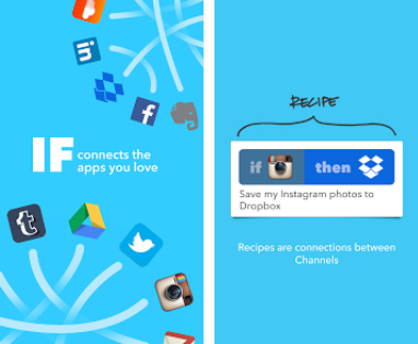 Capture d'écran IFTTT Android