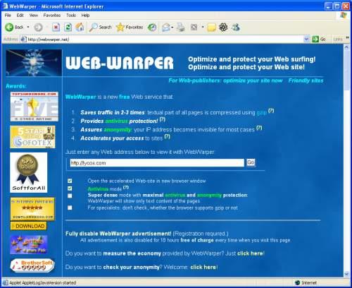 Capture d'écran WebWarper – Internet Optimizer