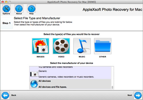 Capture d'écran AppleXsoft Photo Recovery for Mac