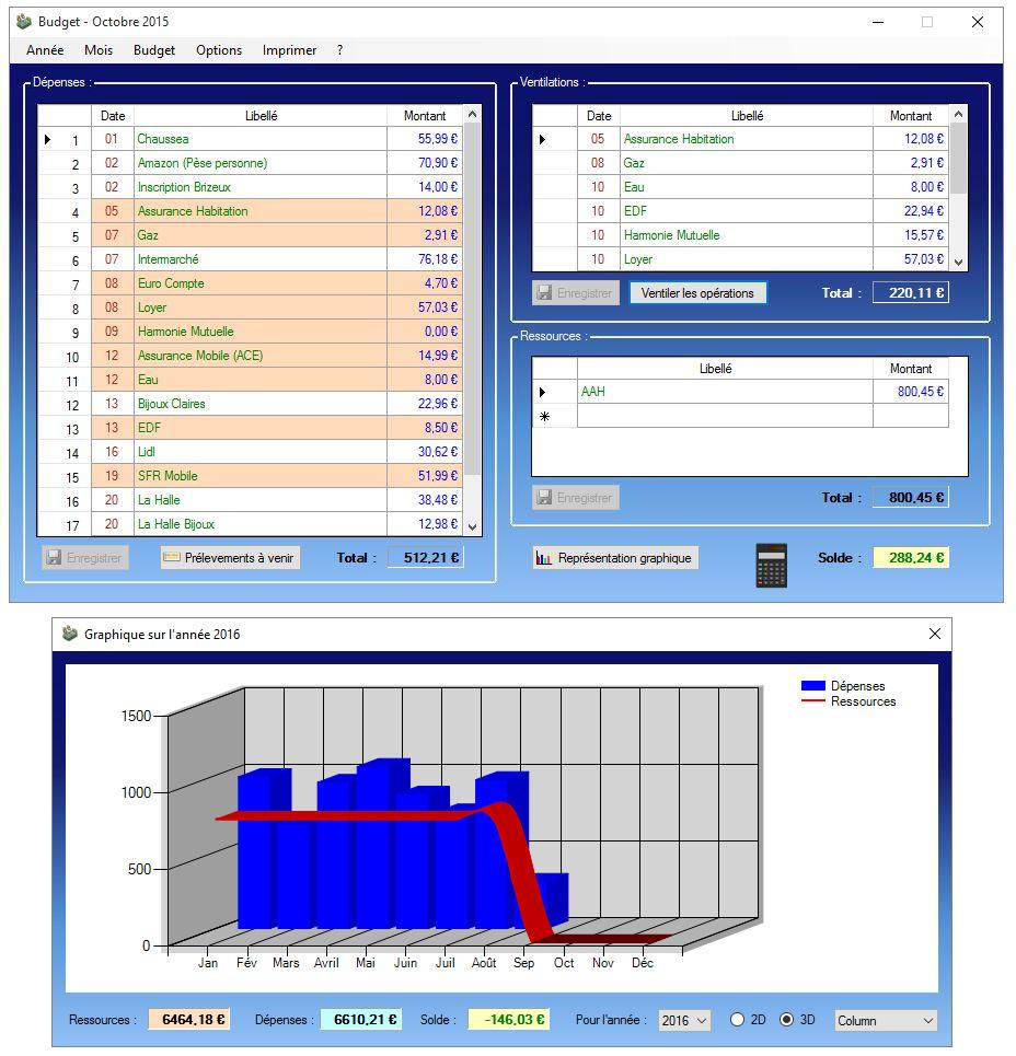 Capture d'écran Budget (MicSoft)
