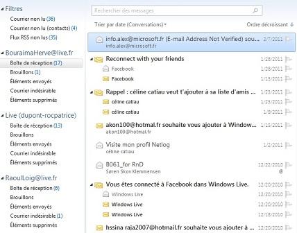 Capture d'écran Windows Live Mail