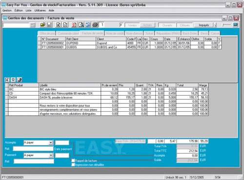 Capture d'écran Stock Basic – Commandes et factures